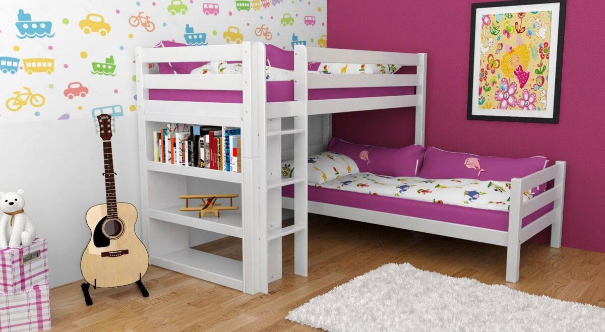 etagenbett stockbett kenny wei lackiert buche massiv vollholz. Black Bedroom Furniture Sets. Home Design Ideas