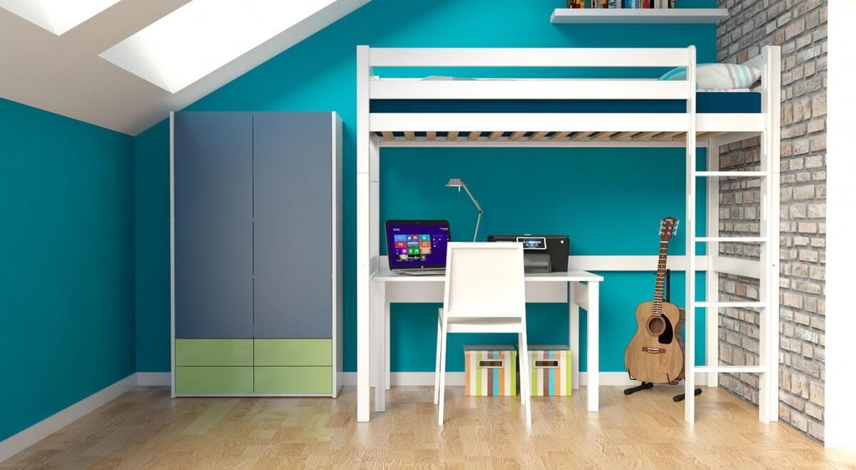 hochbett jakob wei lackiert buche massiv vollholz. Black Bedroom Furniture Sets. Home Design Ideas