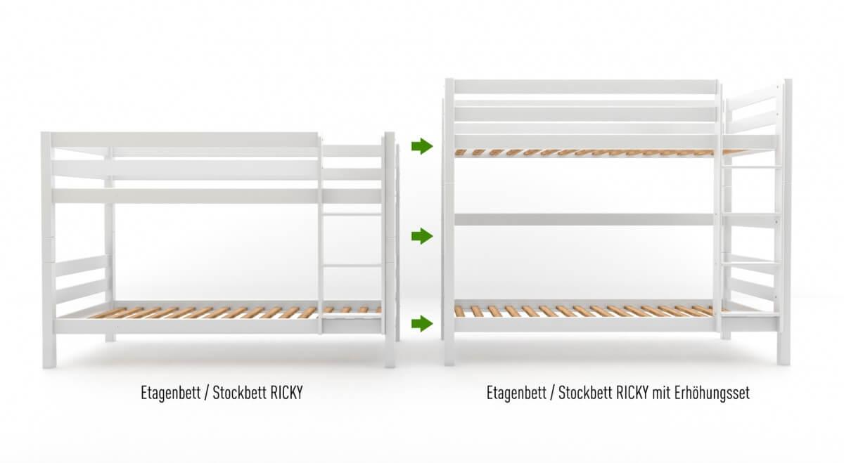 Umbauset / Erhöhungsset für Etagenbett / Stockbett RICKY - Weiß lackiert - Buche Massiv Vollholz