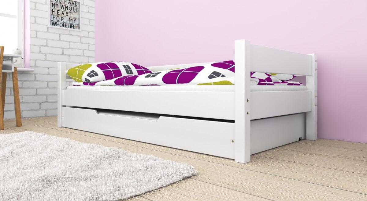 jugendbett einzelbett kojenbett jens inkl bettkasten buche massiv vollholz weiss. Black Bedroom Furniture Sets. Home Design Ideas
