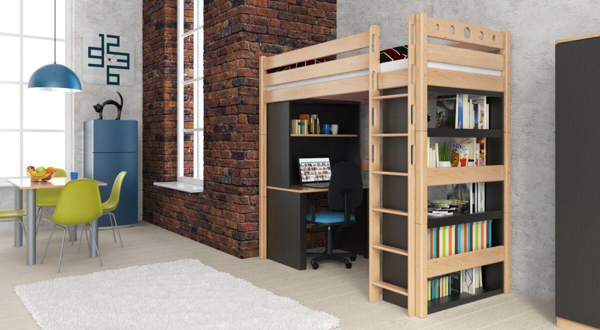 hochbett nilsen natur klar lackiert buche massiv vollholz. Black Bedroom Furniture Sets. Home Design Ideas