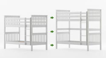 Umbauset / Erhöhungsset für Etagenbett / Stockbett SVEN - Weiß lackiert - Buche Massiv Vollholz