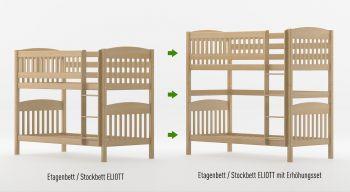 Umbauset / Erhöhungsset für Etagenbett / Stockbett ELIOTT - Natur klar lackiert - Buche Massiv Vollholz