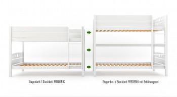 Umbauset / Erhöhungsset für Etagenbett / Stockbett FREDERIK - Weiß lackiert - Buche Massiv Vollholz