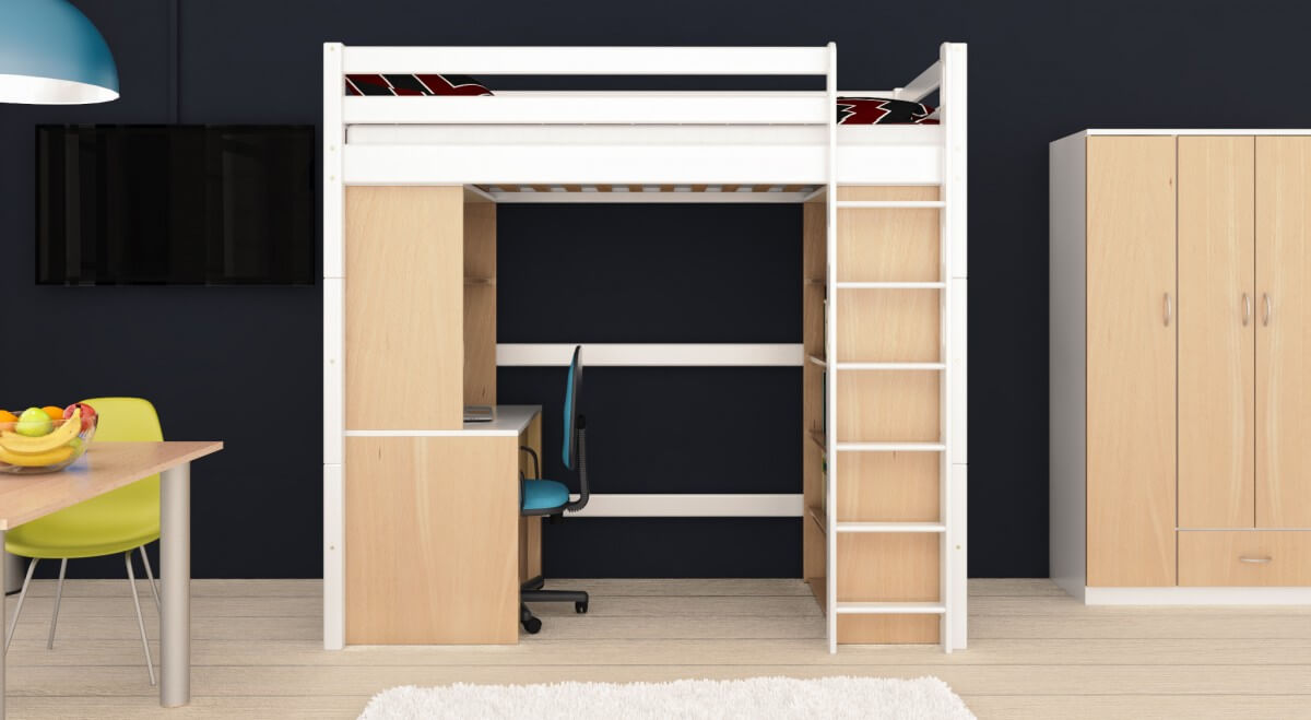 hochbett holger wei lackiert buche massiv vollholz massivholz. Black Bedroom Furniture Sets. Home Design Ideas