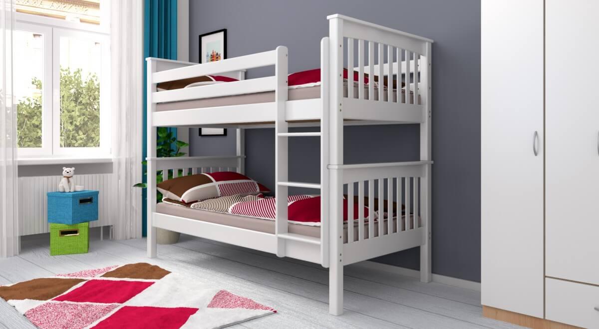 Etagenbett Weiss Buche Massiv : Etagenbett stockbett sven weiß lackiert buche massiv vollholz