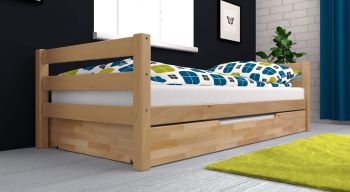 Jugendbett / Einzelbett ADAM inkl. Bettkasten. Weiß lackiert Buche Massiv Vollholz