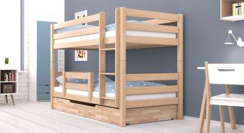 Etagenbett / Stockbett RICKY inkl. Bettkasten und Rausfallschutz. Natur lackiert - Buche Massiv Vollholz