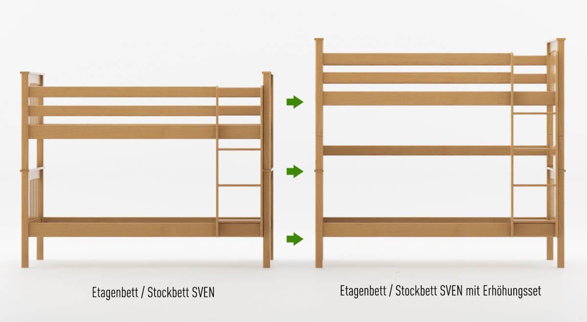 Umbauset / Erhöhungsset für Etagenbett / Stockbett SVEN - Natur klar lackiert - Buche Massiv Vollholz