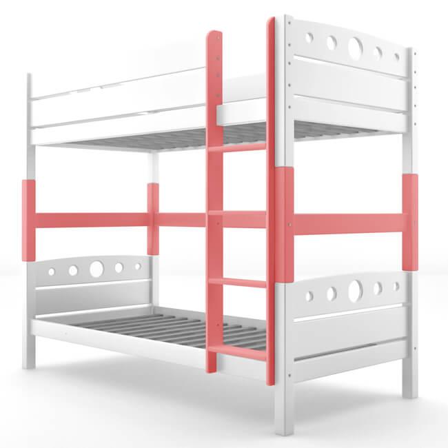 Umbauset / Erhöhungsset für Etagenbett / Stockbett MAGNUS - Weiß lackiert - Buche Massiv Vollholz