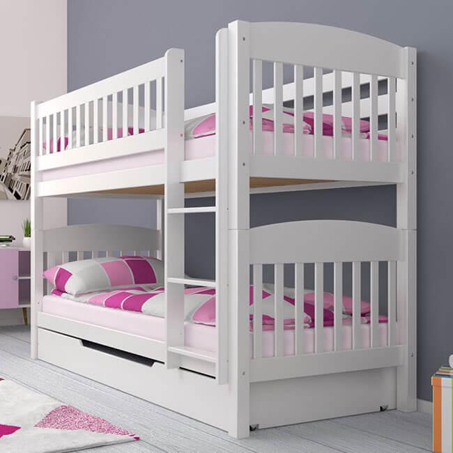 Etagenbett Stockbett Kinderbett ELIOTT Buche Massiv Vollholz Teilbar inkl Bettkasten. Für Kinder und Erwachsene.