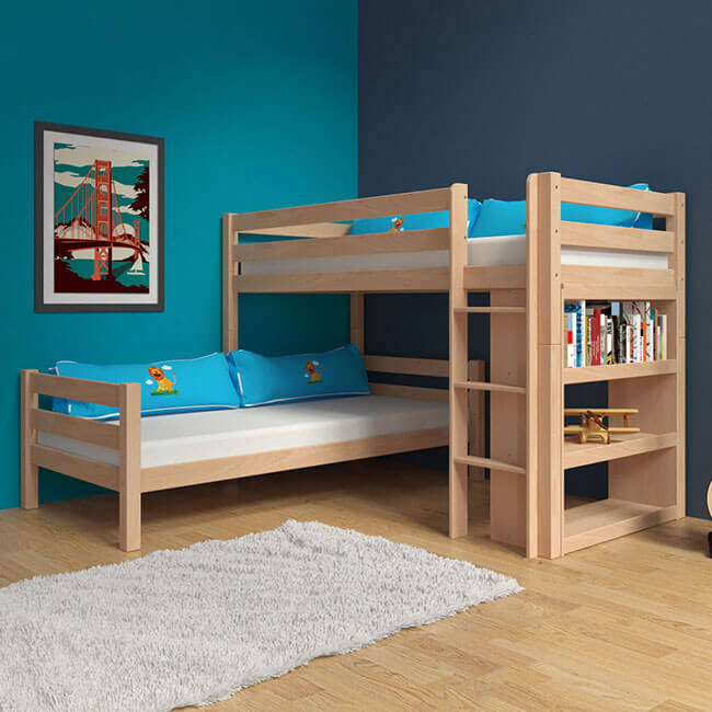 etagenbett stockbett natur inkl b cherregal buche massiv vollholz kinderbett ebay. Black Bedroom Furniture Sets. Home Design Ideas