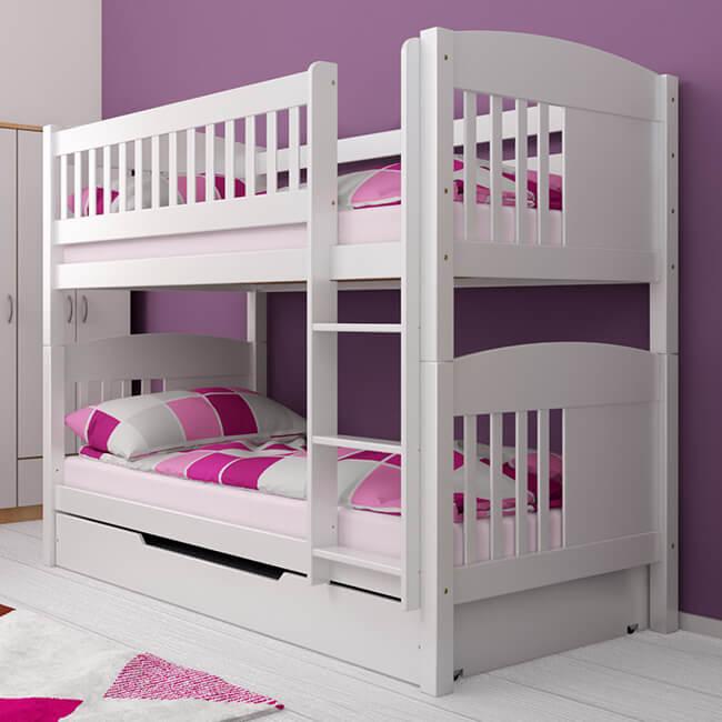Etagenbett Stockbett Kinderbett THOMAS Buche Massiv Vollholz Teilbar inkl Bettkasten. Für Kinder und Erwachsene.