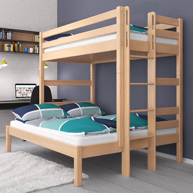 Etagenbett Stockbett Kinderbett HUGO Buche Massiv Vollholz Teilbar 140x200 und 90x200 Sehr Stabil. Für Kinder und Erwachsene