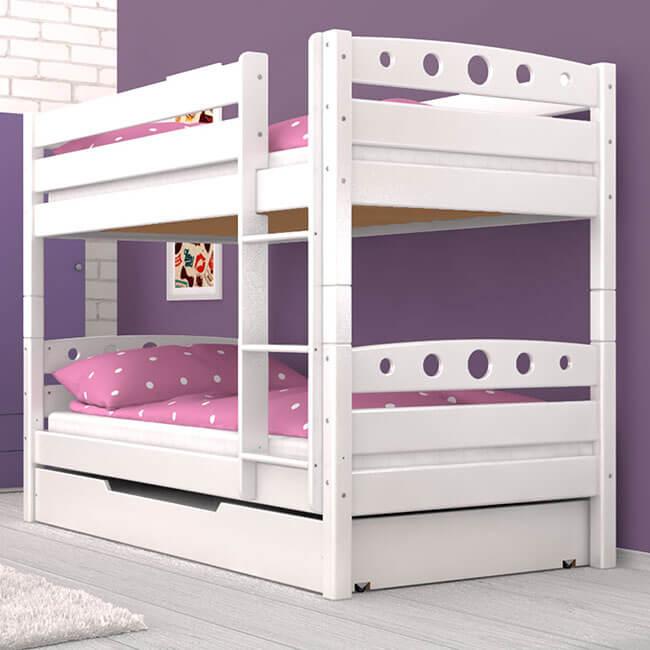Etagenbett Stockbett Kinderbett FREDERIK in Weiss Inkl. Bettkasten Buche Massiv Vollholz Teilbar