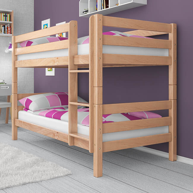 etagenbett stockbett ricky natur klar lackiert buche massiv vollholz. Black Bedroom Furniture Sets. Home Design Ideas