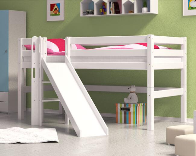 Hochbett Spielbett Kinderbett ALVIN mit Rutsche Buche Massiv Vollholz Weiss lackiert