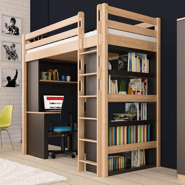 hochbett holger natur klar lackiert buche massiv vollholz massivholz. Black Bedroom Furniture Sets. Home Design Ideas