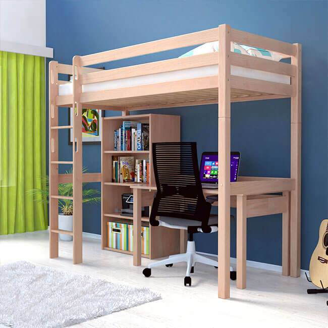 hochbett jakob natur klar lackiert buche massiv vollholz inkl roll lattenrost ebay. Black Bedroom Furniture Sets. Home Design Ideas