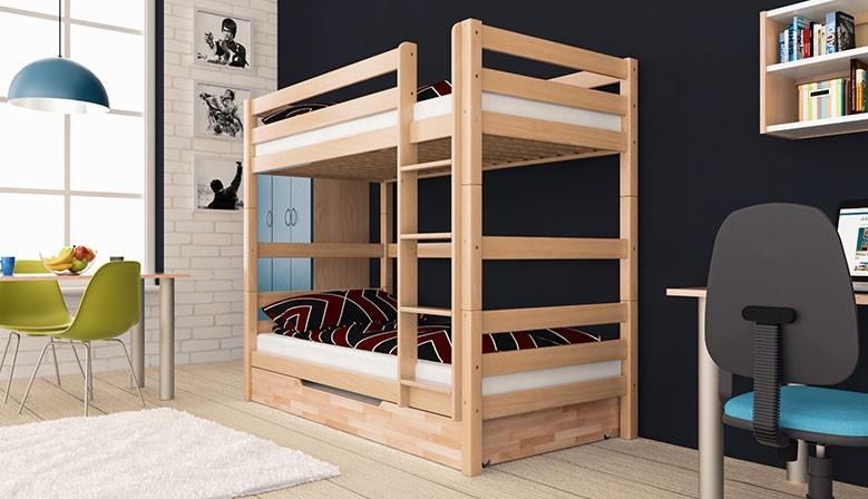 Etagenbett Stockbett Doppellstockbett LARS Buche Massiv Vollholz 90x200 Natur mit Bettkasten und Rausfallschutz Massivholz