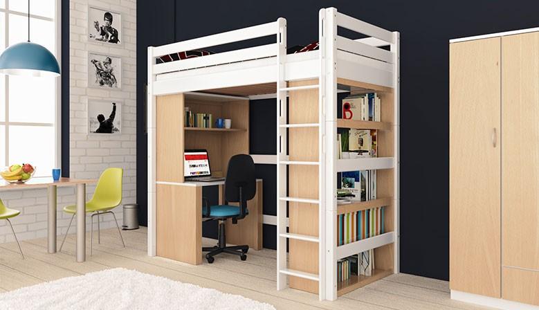 Hchbett Holger 90x200 Buche Massiv Vollholz Massivholz für Kinder und Erwachsene Weiß lackiert Stabil und Robust