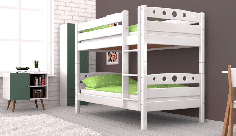 Etagenbett Stockbett Doppellstockbett FREDERIK Buche Massiv Vollholz 90x200 Weiß ohne Bettkasten und Rausfallschutz