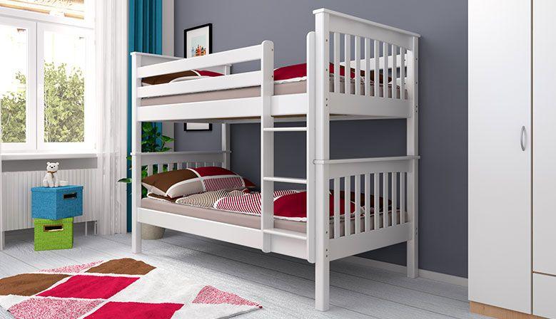 Etagenbett Stockbett Doppellstockbett SVEN Buche Massiv Vollholz 90x200 Weiß ohne Bettkasten und Rausfallschutz