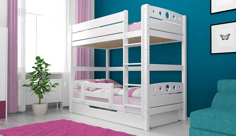 Etagenbett Stockbett Doppellstockbett MAGNUS Buche Massiv Vollholz Massivholz 90x200 Weiß mit Bettkasten und Rausfallschutz